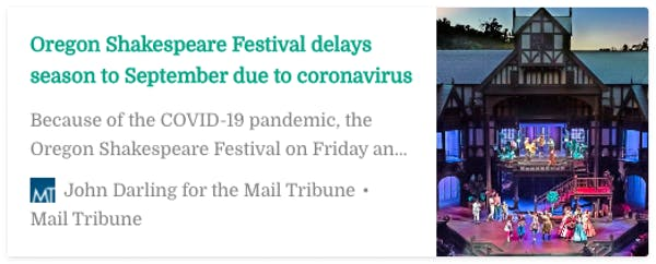 The Oregon Shakespeare Festival Feels the Effects of Coronavirus
