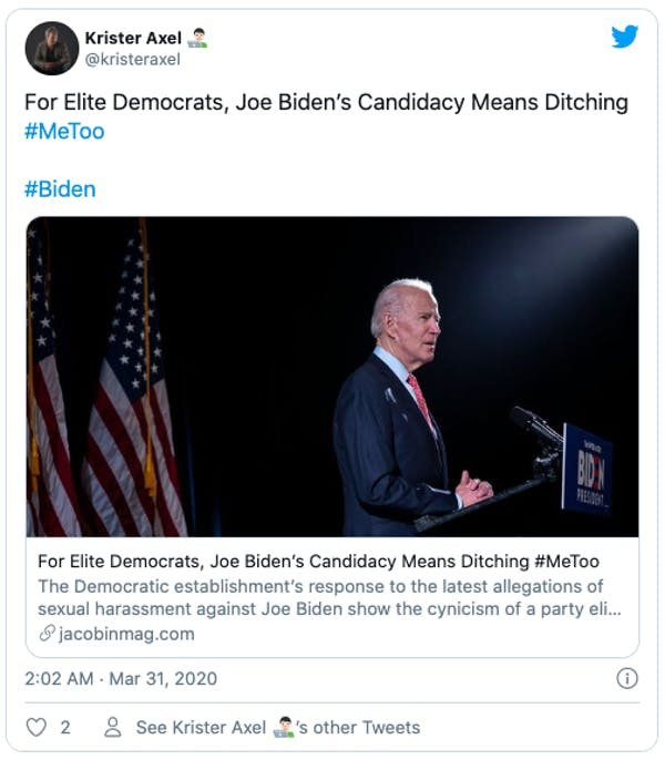 For Elite Democrats, Joe Biden's Candidacy Means Ditching #MeToo