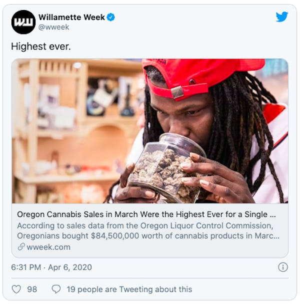 Oregon Cannabis SalesOregon Cannabis Sales in March Were the Highest Ever for a Single Month. in March Were the Highest Ever for a Single Month