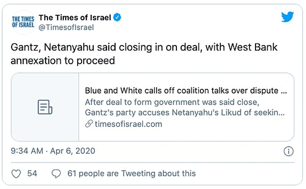 Gantz, Netanyahu said closing in on deal, with West Bank annexation to proceed.