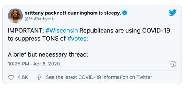 Wisconsin Republicans are using COVID-19 to suppress TONS of #votes.